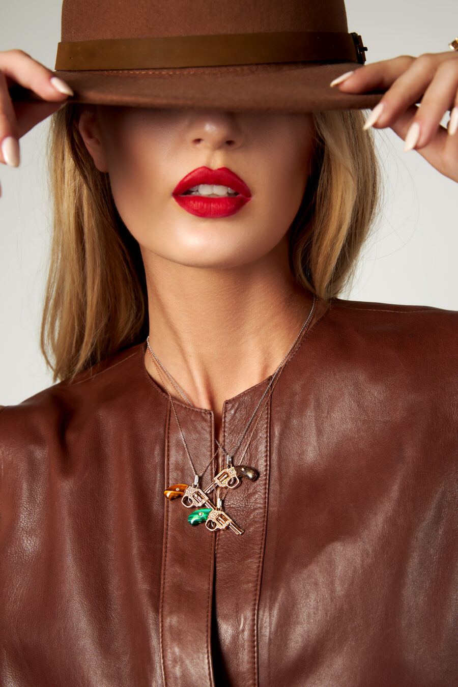 peacemaker gun revolver pendant necklace jewelry collection model photo 1