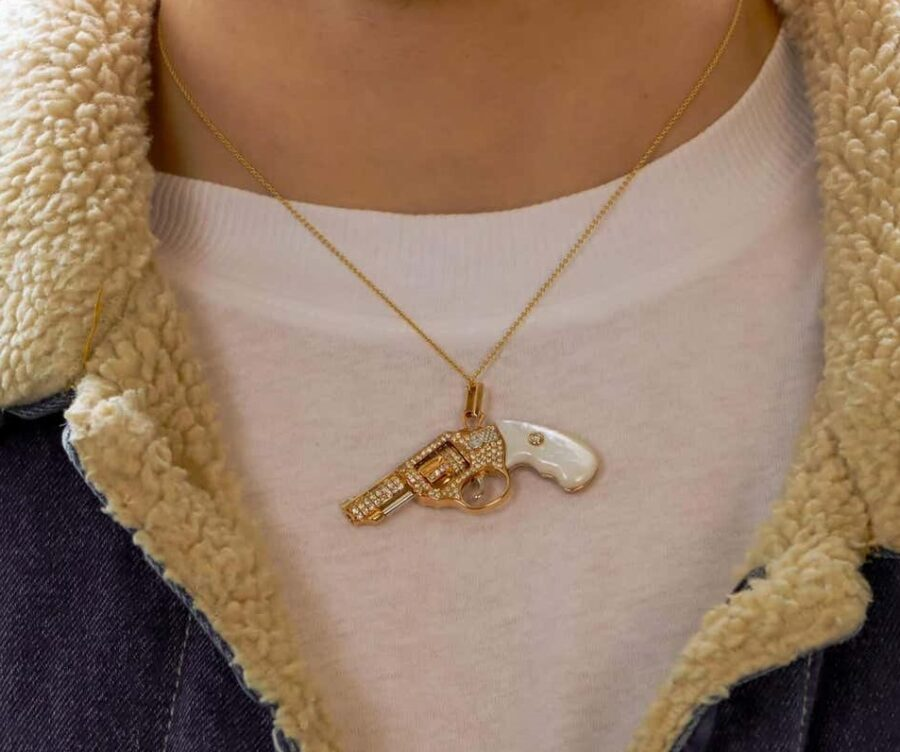 peacemaker gun revolver pendant necklace jewelry collection white mop 1