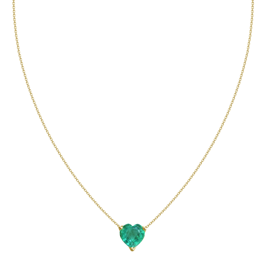 classic heart shape emerald yellow gold necklace galt & bro unn005 em y yellow gold front