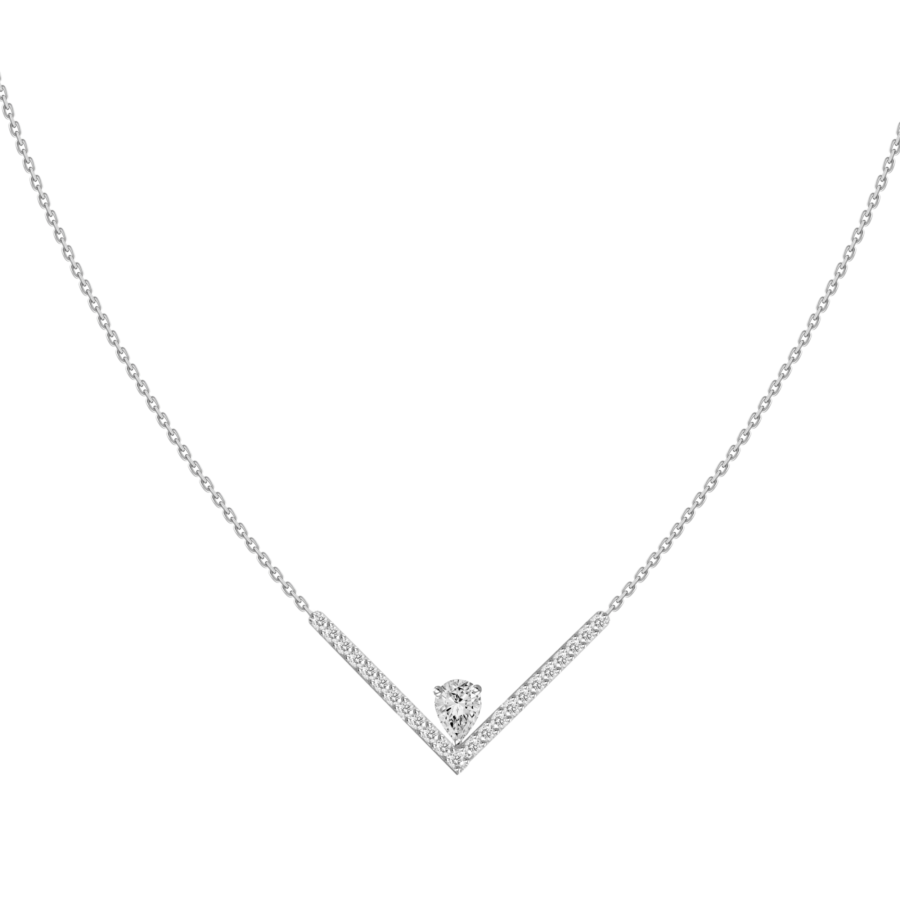 diamond pear shape solitaire v white gold necklace galt & bro n15964b w white gold front