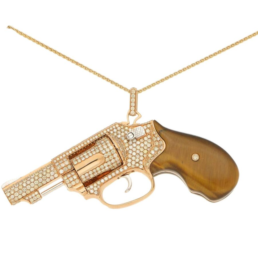 maxi size peacemaker gun revolver pendant necklace jewelry collection tiger's eye 2