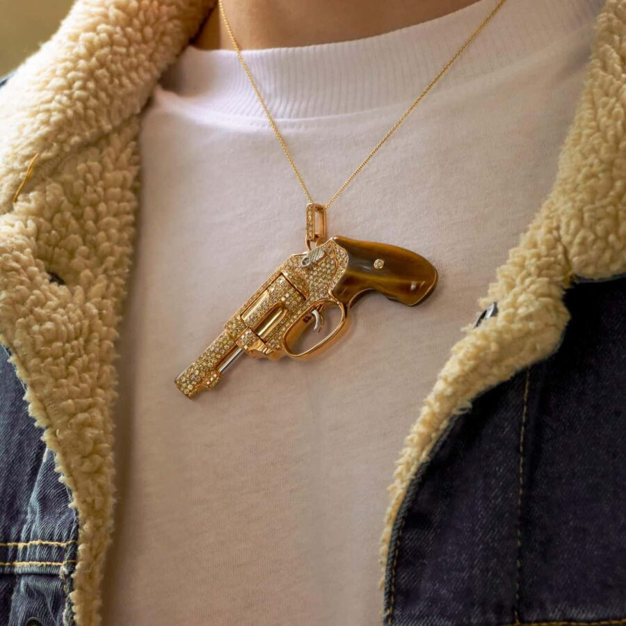 maxi size peacemaker gun revolver pendant necklace jewelry collection tiger's eye 3