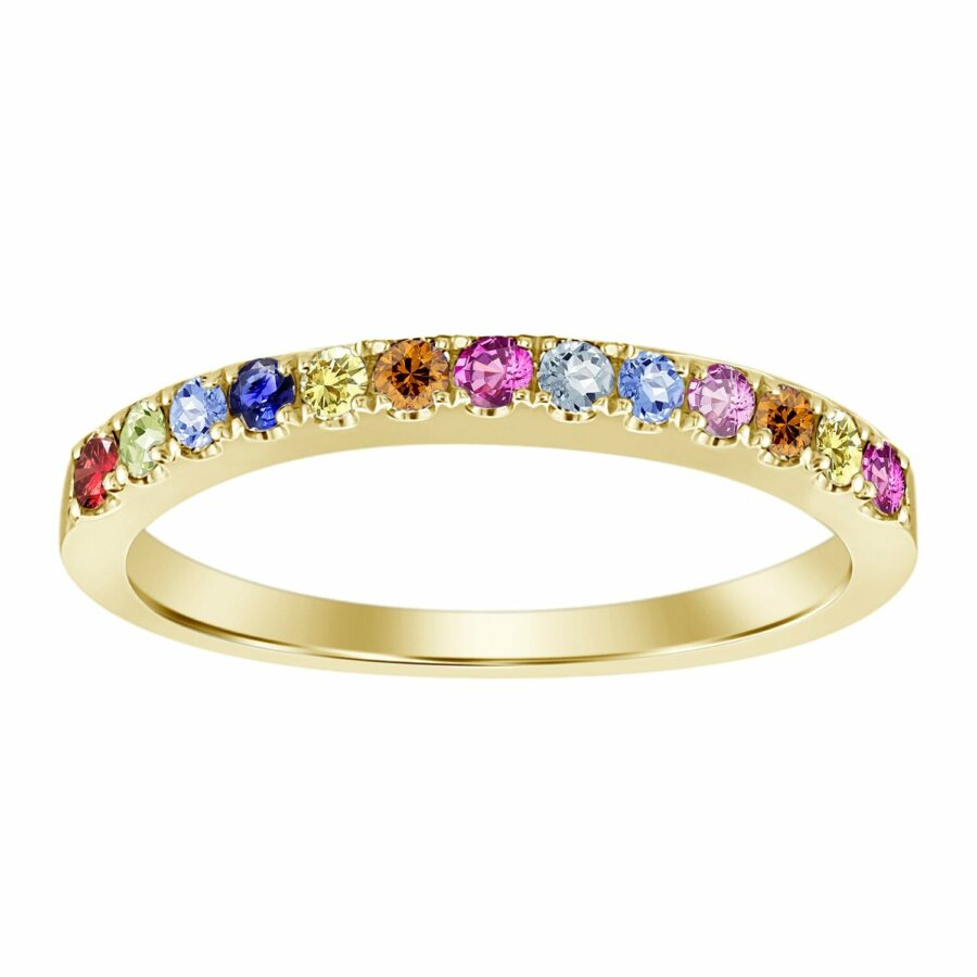 multi color sapphires petite yellow gold ring galt & bro otr 0509 mix y yellow gold front